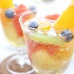 メロン&グレープフルーツ&キウイフルーツ&ブルーベリー&バナナ&オレンジのフルーツポンチ